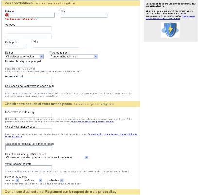 Trés belle distinction des zones et des items au sein du formulaire Ebay