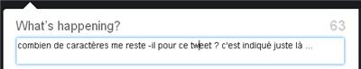 Twitter. Nombre de caractère restant en live