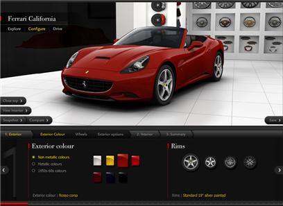 Ferrari : Un configurateur de haute tenue et un contrôle Utilisateur constant et performant