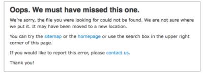 Une page 404 informative et efficace