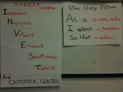 user stories INVESTEd... goal oriented and customer-centric