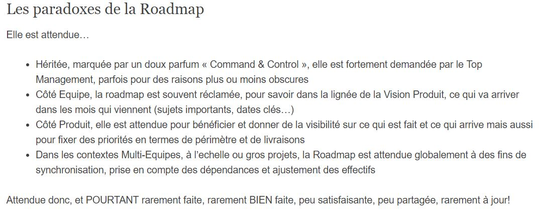 PAradoxes de la roadmap